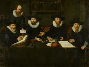 De weesmeesters en de bode van de weeskamer van Amsterdam