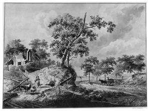 Landschap met herderin en vee bij een vervallen kapel
