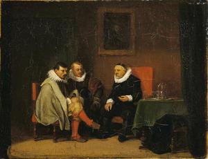 Drie mannen in een interieur