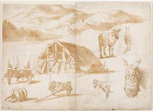 Studie van een landschap, een hut en dieren