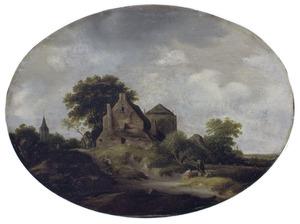 Landschap met boerderij en kerktoren