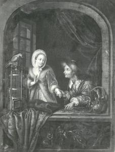 Een ongelijk paar: jonge vrouw en een oude man aan het venster
