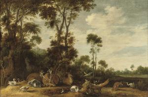 Bosrand met herten en andere dieren