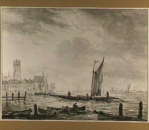 Dordrecht vanaf de Merwede naar het westen gezien