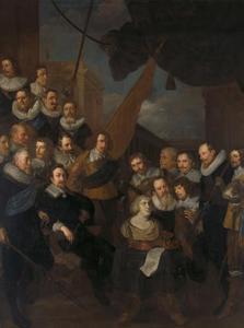 De compagnie van kapitein Cornelis Bicker en luitenant Frederick van Banchem, gereed voor ontvangst van Maria de' Medici, koningin-weduwe van Frankrijk, in september 1638