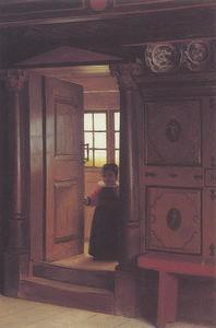 Een jong kind staande in een open deur