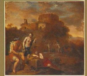 Arcadisch landschap met Bacchus en twee nimfen; op de achtergrond de dronken Silenus