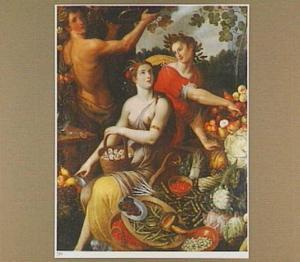 Bacchus, Ceres en Apollo temidden van manden vol fruit en groenten