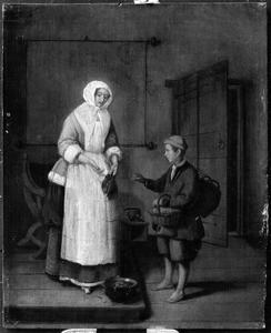 Vrouw met jongen die garnalen verkoopt in een interieur