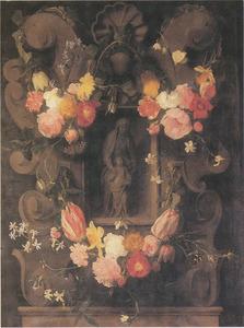 Gebeeldhouwde cartouche versierd met bloemen rondom een voorstelling van de maagd Maria en Anna