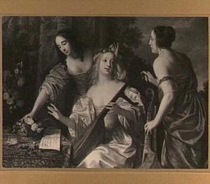 Drie jonge vrouwen met muziekinstrumenten