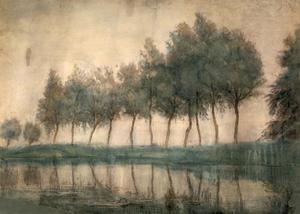 Voorstelling van rij bomen langs het water bij het Gein bij Amsterdam