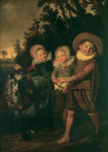 Portret, waarschijnlijk van drie kinderen van Ghijsbert Claesz. van Campen (....-1645) en Maria Joris (....-1666) (fragment)