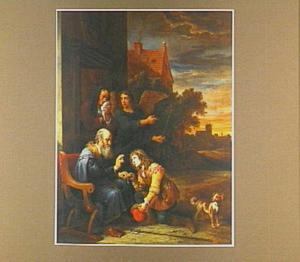 Tobias en de engel nemen afscheid van Tobit en zijn vrouw