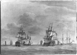 Koopvaarijschepen nabij Marken