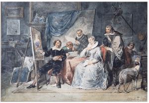 Bezoek in het atelier van de schilder