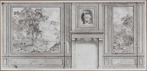 Kamerwand met twee behangselvlakken ter weerszijden van een schoorsteen