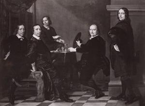 Vier regenten en rentmeester van het Heilige Geestgasthuis te Rotterdam, 1653