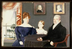Portret van Unico Wilhelm Teutonicus Cazius (1766-1832) en zijn gezin