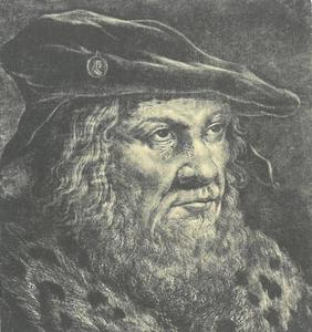 Portret van oude man met fluwelen baret