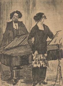 Portret van Jacobus Hendrikus Speenhoff (1869-1945) en Alexandrina Cesarina Julia Prinz (1883-1946)