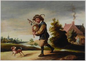 Doedelzak spelende boer in een landschap