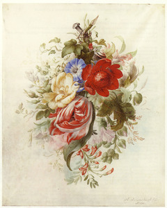 Festoen van bloemen hangend aan een spijker