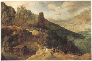 Reizigers bij een dorp in een berglandschap