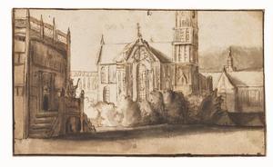 Stadsgezicht met kerkgebouw