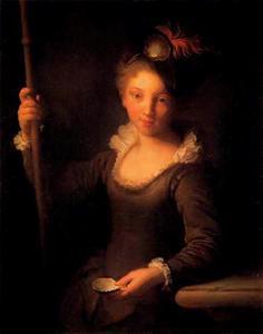 Jonge vrouw als prilgrim