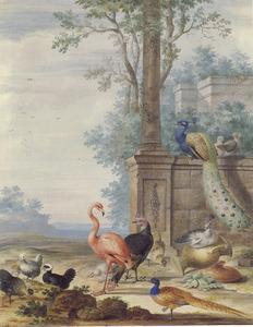 Arcadisch landschap met vogels en restanten van oude gebouwen