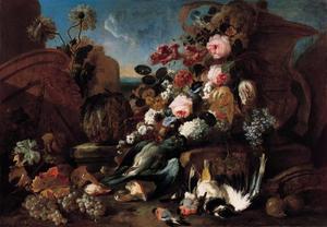 Stilleven met bloemen, dode vogels en brokstukken van ruinejes