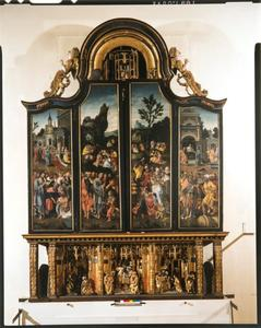 De opwekking van Lazarus, de vermenigvuldiging van de broden (buitenzijde linkerluik); De vermenigvuldiging van de broden, Christus geneest de lammen (buitenzijde rechterluik)