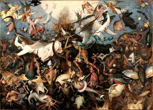 De aartsengel Michaël doodt de apocalyptische draak (Openbaring van Johannes 12:7-9)