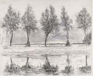 Study for five trees along the Gein with moon