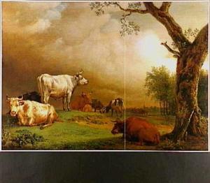Weidelandschap met vee; op de achtergrond een boerenkar