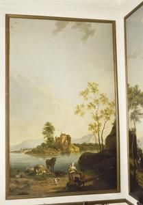 Pastorale scène aan de rand van een meer