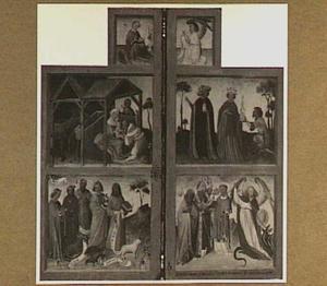 De annunciatie (boven), de aanbidding van de Wijzen (midden) en heiligen (onder) (De Norfolk-triptiek)
