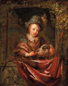 Jongen met hond in een venster