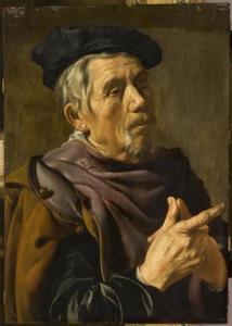 Een oude man met een baret