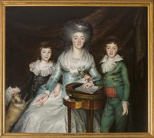 Portret van Francoise Angelique Gilles (1758-1826), Theodore Joseph Roest van Alkemade (1783-1806) en Lodewijk Frans Marie Roest van Alkemade (1786-1809)