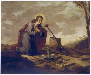 De jeugdige Christus mediterend bij de instrumenten van de Passie in een landschap