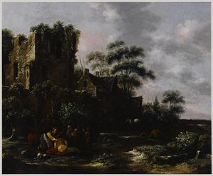 Landschap met figuren bij een ruïne