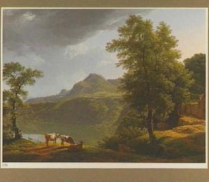 Italianiserend landschap met herder en vee