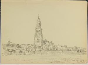 Gezicht op Rhenen met de Cunerakerk