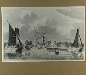 Rivierlandschap met boten en een molen