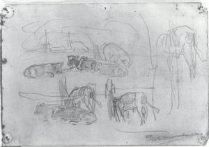 Sketches of standing and reclining cows
