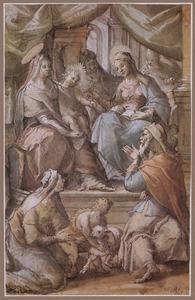 De H. familie met Anna en Joachim, Elizabeth en Johannes de Doper