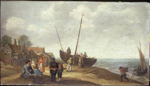 Visverkopers op het strand