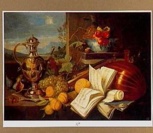 Pronkstilleven met siervaatwerk, muziekinstrumenten, muziekboeken en vruchten op een tafel voor een muur met een doorzicht op een landschap